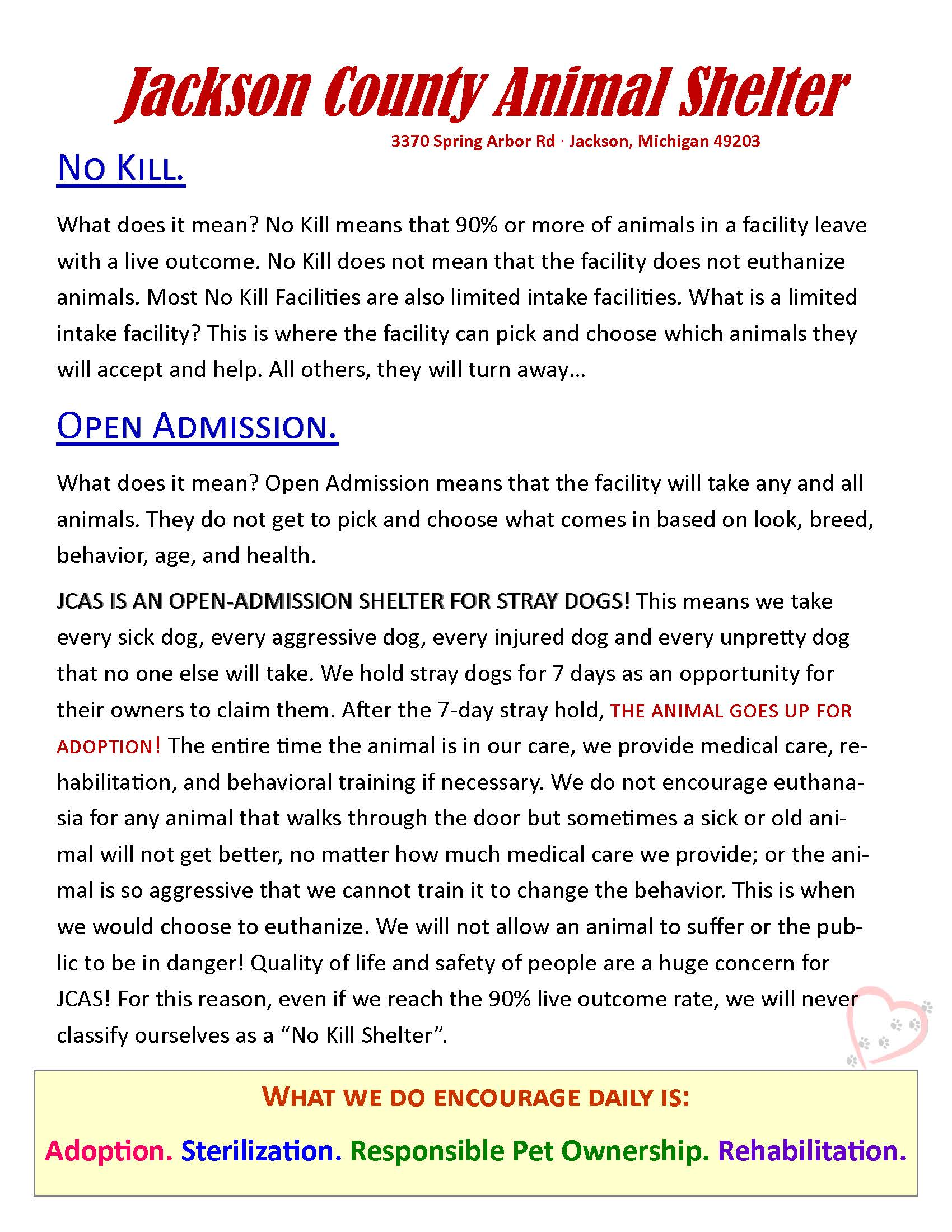 Animal Shelter No Kill vs Open Admission